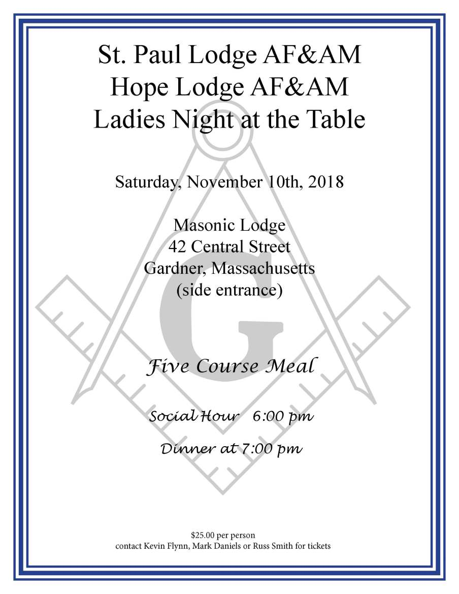 Saint Paul Lodge Ladies Night at the Table